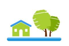 Het groene Pictogram van het Huis Stock Foto