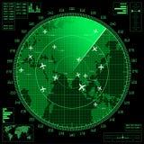 Het groene radarscherm met vliegtuigen en wereldkaart Royalty-vrije Stock Afbeeldingen