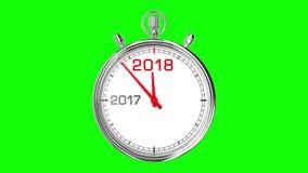 Het Groene Scherm van de nieuwjaar 2018 Chronometer stock footage