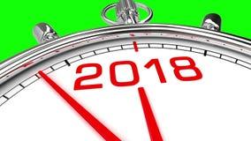 Het Groene Scherm van de nieuwjaar 2018 Klok stock footage