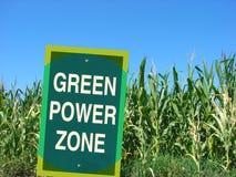 Het groene teken van de machtsstreek met cornfield Stock Fotografie