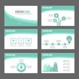 Het groene van het de vliegerpamflet van de golf multifunctionele Brochure van het de websitemalplaatje vlakke ontwerp Stock Fotografie