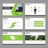 Het groene Vector van de de Brochurevlieger van het jaarverslagpamflet het malplaatjeontwerp, de lay-outontwerp van de boekdekkin Stock Foto