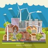 Het groene vectorconcept van de ecostad met windenergiepost Infographic met reeks van gebouwen en infrastructuur Royalty-vrije Stock Afbeelding