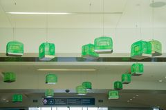 Het groene vogelnest hangen bij de luchthaven Stock Foto's