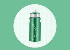Het groene water van de aluminiumfles, illustratie Stock Foto's