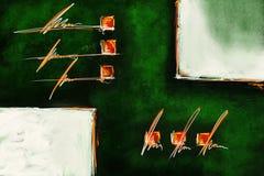 Het groene witte abstracte eigentijdse de tekening van de kunstdruk schilderen stock afbeelding
