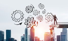 Het groepswerk conceptuele regeling van de zakenmantekening Royalty-vrije Stock Afbeelding