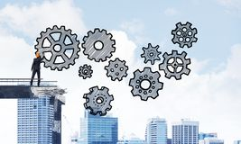 Het groepswerk conceptuele regeling van de zakenmantekening Stock Afbeelding