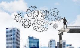 Het groepswerk conceptuele regeling van de zakenmantekening Stock Afbeeldingen