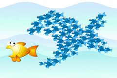 Het Groepswerk dat van vissen Prooi achtervolgt Stock Afbeelding