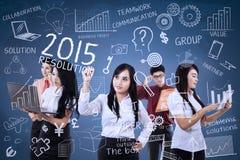 Het groepswerk maakt idee voor resoluties Stock Afbeelding