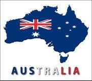 Het grondgebied van Australië met vlagtextuur. Stock Fotografie