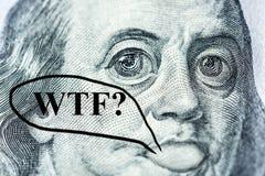 Het groot-eyed €™s gezicht Benjamin Franklinâ met een honderd-dollar rekening zegt royalty-vrije illustratie