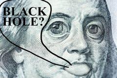 """Het groot-eyed €™s gezicht Benjamin Franklinâ met een honderd-dollar rekening zegt """"Black gat? †, Symbool van verrassing, ap vector illustratie"""