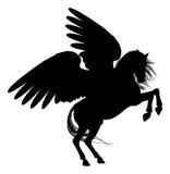 Het grootbrengen Pegasus Silhouet stock illustratie