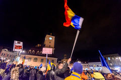 2017 - Het grootste anti-corruptieprotest van Roemenen in decennia Royalty-vrije Stock Afbeelding