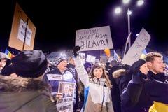 2017 - Het grootste anti-corruptieprotest van Roemenen in decennia Stock Foto