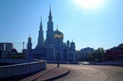 Het grootste deel van de moskee van Moskou op blauwe hemelachtergrond royalty-vrije stock fotografie