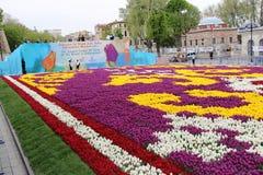 Het Grootste Tapijt van Tulpen de Wereld in Sultanahmet, Istanboel Stock Foto