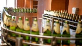 Het grote aantal glasflessen met bier beweegt zich langs de transportband Lage alcoholproductie De dranken zijn klaar te eten stock footage
