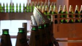 Het grote aantal glasflessen met bier beweegt zich langs de transportband Lage alcoholproductie De dranken zijn klaar te eten stock videobeelden