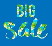 Het grote blauwe verkoop van letters voorzien Stock Afbeelding