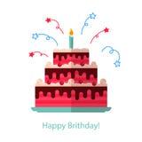 Het grote cake vlakke pictogram isoleerde witte achtergrond - Gelukkige Verjaardag Royalty-vrije Stock Afbeelding