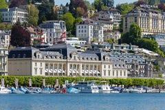 Het Grote Casino die op Meer Luzerne uitzien Stock Fotografie