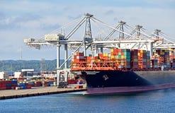 Het grote containerschip heeft in de haven o gedokt en geladen en leegmaakt stock fotografie