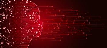 Het grote gegevens en kunstmatige intelligentieconcept van het kindgezicht royalty-vrije illustratie