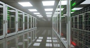 Het grote High-tech Centrum van Servergegevens met Weerspiegelende Vloer Artificia Royalty-vrije Stock Afbeeldingen
