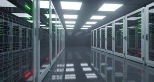 Het grote High-tech Centrum van Servergegevens met Weerspiegelende Vloer en EEN Royalty-vrije Stock Afbeeldingen