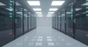 Het grote High-tech Centrum van Servergegevens met Weerspiegelende Vloer en EEN Stock Afbeelding