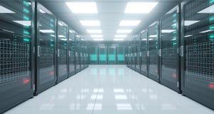 Het grote High-tech Centrum van Servergegevens met Weerspiegelende Vloer en EEN Stock Fotografie