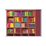 Het grote hoogtepunt van de bibliotheek houten boekenkast van boeken vector illustratie