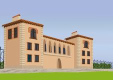 Het grote huis met een gazon Royalty-vrije Stock Afbeeldingen