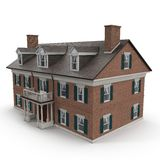 Het grote huis van de twee verhaal uitstekende Koloniale stijl op wit 3D Illustratie Stock Afbeelding