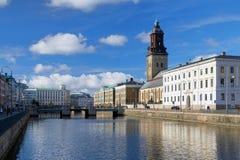 Het grote Kanaal en Christina Church, Gothenburg van de Haven Stock Fotografie