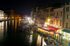 Het grote kanaal van Venetië bij nacht Royalty-vrije Stock Afbeelding