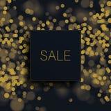 Het grote malplaatje van de verkoop vectorbanner met goud schittert vage bokeh achtergrond Speciale aanbiedingenbevordering, best stock illustratie