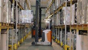 Het grote moderne pakhuis, vorkheftruck vervoerden de doos Werkschema in een pakhuis met dozen stock video