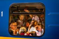 Het grote openen van een lokale spoorweg van kinderen in Uzhgorod Royalty-vrije Stock Foto's