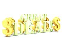 Het grote overeenkomstenwoord van letters voorzien met dollartekens Stock Afbeeldingen