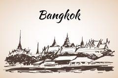Het Grote Paleis - complex van gebouwen centraal bij Bangkok, stock illustratie