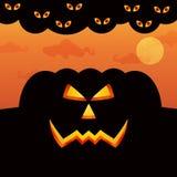 Het Grote Pompoensilhouet op Halloween Stock Foto