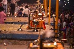 Het grote ritueel 2016 van pujaindia Varanasi royalty-vrije stock afbeelding