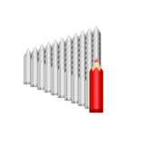 Het grote rode potlood leidt grijs Royalty-vrije Stock Afbeelding