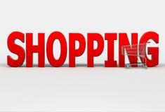 Het grote rode woord Winkelen en boodschappenwagentje op witte achtergrond Royalty-vrije Stock Afbeeldingen