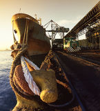 Het grote schip ontladen Royalty-vrije Stock Foto's